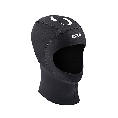 ZCCO Diving Hood 3MM Neoprene Wetsuit Dive Cap Keep Warm Durable Stretchable for Scuba Snorkeling Surfing Kayaking Swimming Sailing Canoeing Fishing Equipment(Men and Women) (Black-5mm, XL)
