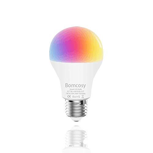 Bombilla LED Inteligente WiFi, 1 Pack 7W E27 Bombilla LED Luces Cálidas/Frías & RGB, Multicolor Lámpara WiFi Funciona con Alexa (Echo, Echo Dot) Google Home IFTTT, 16 Millones de Colores, 600 Lúmenes