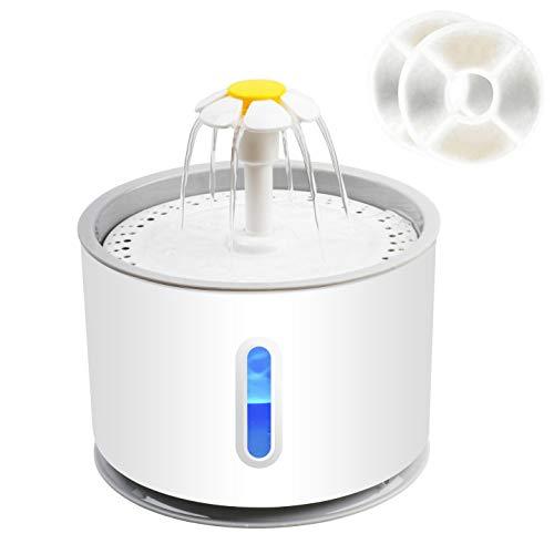 NICREW Fontaine à Eau pour Chat Chien Automatique 2,4L, Distributeur Eau Silencieux avec LED Fenêtre de Niveau d eau et Filtre à Charbon Actif