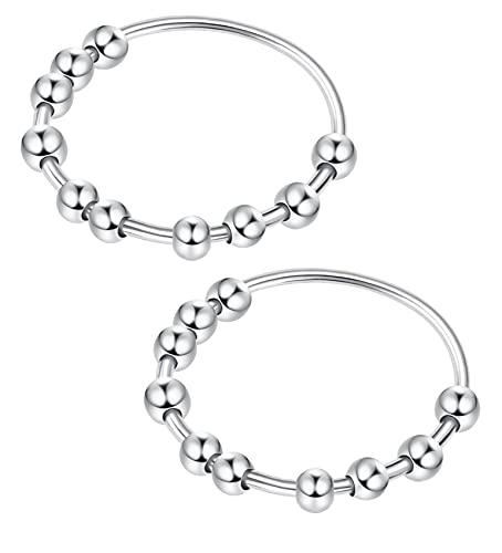 JeweBella 2 anillos de plata de ley 925 para mujeres alivio del estrés, anillo giratorio con cuentas para ansiedad, anillo giratorio tamaño L1/2-P1/2, Plata-esterlina,