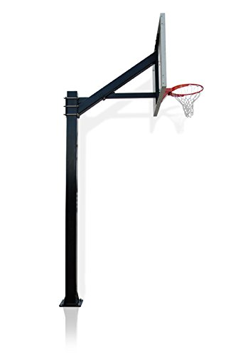 Hercules Platinum Tempered Glass with Rust Armor - Fixed Height In-ground Basketball Hoop with 1/2 inch Regulation Size Backboard and 6x6 Square Pole