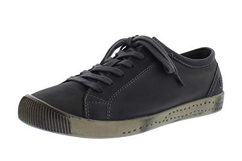 Softinos Damen Sneakers ISLA, Frauen Low Top Sneaker,lose Einlage, Halbschuh strassenschuh schnürer schnürschuh,Grau(Anthracite),41 EU / 7.5 UK