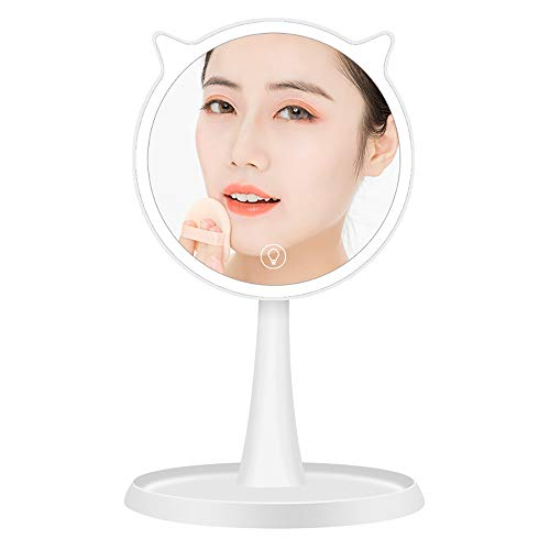 Pn&cc Espejo de Maquillaje de LED, función Inteligente de Carga por USB del Armario de Base táctil 10X tocador/Amante/Madre/Novia, White