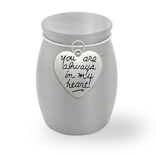 PhotoJewelryMaking Small Memorial Ashes Vial Urn Keepsake Holder Always in My Heart Container Jar Vial Brushed Stainless Steel Cremation Funeral