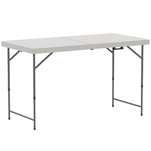 Home Vida Folding Table 4ft Heavy Duty Extra Strength Camping Buffet Wedding Market Garden Party Car Boot Stall Picnic Trestle Indoor Outdoor Foldaway Carry Handle