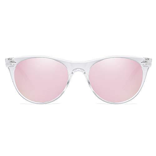 SOJOS Occhiali da Sole Polarizzate UV400 Piccola Retrò Vintage CELEB SJ2076 con Trasparente Telaio/Rosa Lente a Specchio