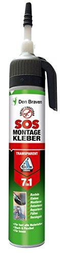 Den Braven SOS Montagekleber, transparent, 210 ml, sofort einsetzbar,zum Montieren, Kleben, Reparieren, Basteln, Dekorieren, Dichten, Füllen, für fast alle Materialien, super haftstark.