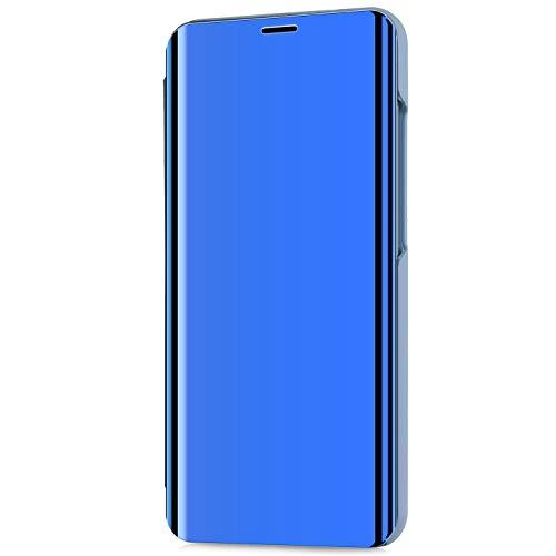 Kompatibel mit LG V30/LG V30 Plus/LG V30S ThinQ Hülle Schutzhülle PU-Leder Flip Überzug Spiegel 360-Grad-Schutz Tasche Ledertasche Handytasche Lederhülle Hülle Bookstyle Ständer Hart PC Hülle,Blau