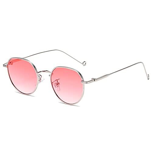 AMFG Pequeño marco redondo gafas de sol hombres y mujeres tendencia moda gradiente color calle fotografía gafas de sol (Color : B)