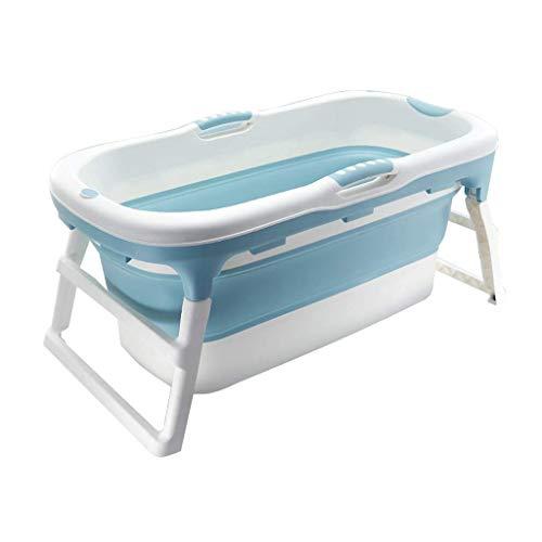 THMY Bañera Plegable portátil, Barril de baño portátil para el hogar, plástico, SPA, Piscina, bañera, Cubo de baño para Adultos con Cubierta, Accesorios de baño (Azul sin Cubierta)