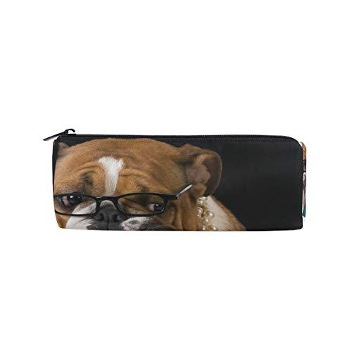 Potlood Case Cilindervorm Houders Schattig Dier Engels Bulldog Vlag Pen briefpapier zakje met Rits Make-up