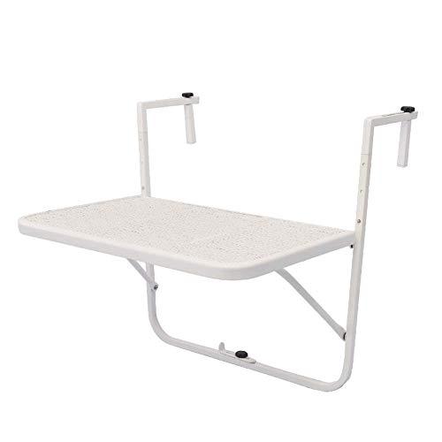 - Wandtafel van ijzer, inklapbare hangtafel met leuningen, mini-bureau met balkon, kleine leertafel voor wandmontage, wit