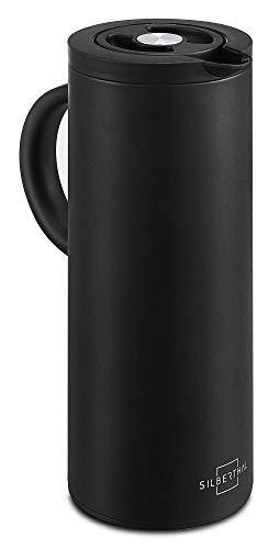SILBERTHAL Caraffa Termica Caffe in Acciaio Inox | Caraffa Termos caffè 1 litro | Brocca Termica a Doppia Parete isolata | Caraffa Termica Nera | Caraffa Isolante | Thermos per Bevande Calda