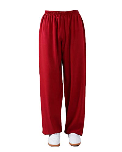 Shaoyao Unisex Pantalones Kung Fu – Wushu – Tai Chi – Taiji – Martial Arts – Pantalón – Sport – Yoga – Tiempo Libre Rojo XL
