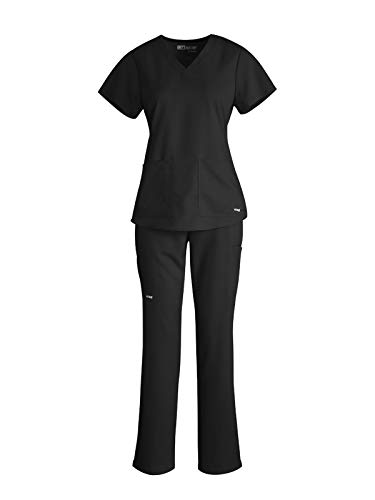 Grey's Anatomy V-Neck Top Bundle with Straight Leg Pant Medical Scrub Set for Women
