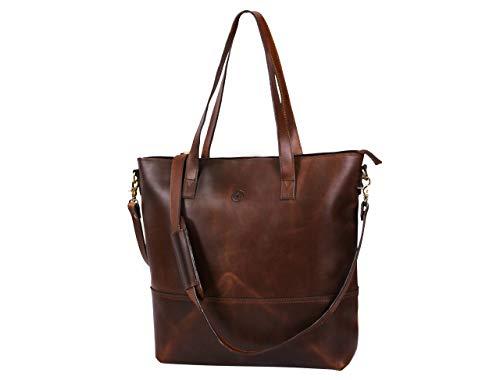 16' Leather Tote Shoulder Bag For Women Vintage Genuine Handbag