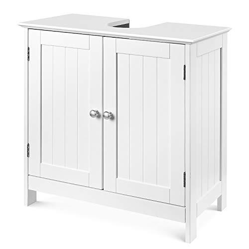 Homfa Waschbeckenunterschrank Unterschrank Waschtischunterschrank Badezimmerschrank mit 2 Türen und Verstellbarer Einlegeboden Weiß Holz 60x60x30cm