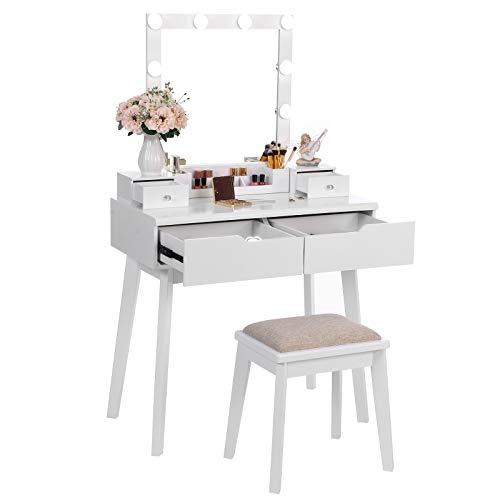 ANWBROAD Tocador con espejo grande, 10 bombillas LED, mesa con 4 cajones, 2 separadores para manualidades, taburete acolchado, organizador móvil, color blanco BDT06W