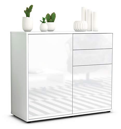 Stil.Zeit Sideboard Chantal/Korpus Weiss matt/Front Hochglanz Weiß (92x79x35cm) Push-to-Open Technik & Leichtlaufschienen