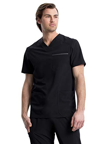 CHEROKEE iFlex Men Scrubs Top V-Neck Plus Size CK661, 2XL, Black