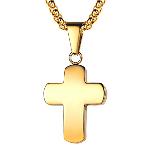 FaithHeart Cruz Templaria Acero Inoxidable Chapado en Oro Amarillo 18K Collar con Cadena de Eslabones Cuadrados Colgante de Cruz Lisa Regalo Cristiano