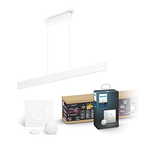 Philips Hue White & Col. Amb. LED Pendelleuchte Ensis, dimmbar, 16 Mio. Farben, steuerbar via App, kompatibel mit Amazon Alexa + Smart Button, komfortables Dimmen ohne Installation