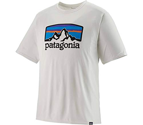 Patagonia M's Cap Cool Daily Graphic T-Shirt pour Homme Taille Unique Blanc (Fitz Roy Horizons: White)