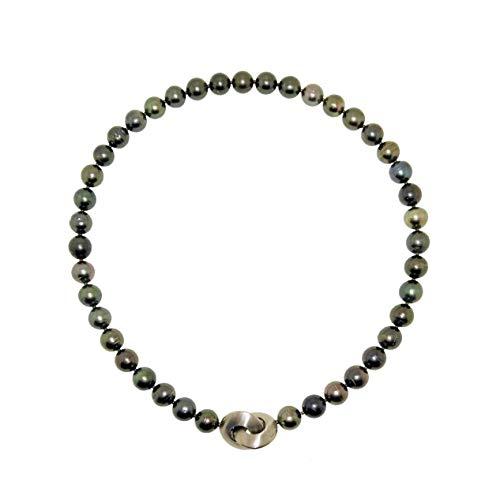Tahitiperlen Kette schwarz echte Perlen 10 mm anthrazit multi Designschließe Länge 48 cm Halskette Perlenkette Collier
