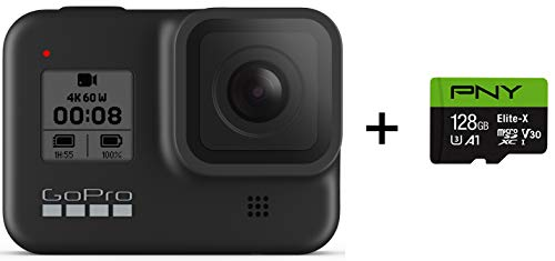 GoPro HERO8 Black + PNY Elite-X 128GB U3 microSDHC Card (Bundle)
