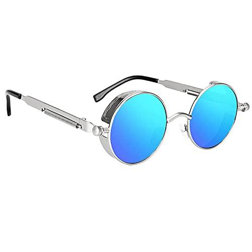 Sharplace Gafas de sol con montura circular de Metal Retro Steampunk Vintage gafas de sol de protección UV, gafas de sol redondas steampunk de alta definición - de plata azul