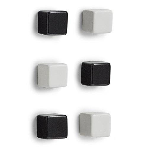 Zeller Magnet-Set Cubes, 6-TLG, Kunststoff/Metall, schwarz/weiß, 1 x 1 x 1 cm, 6-Einheiten