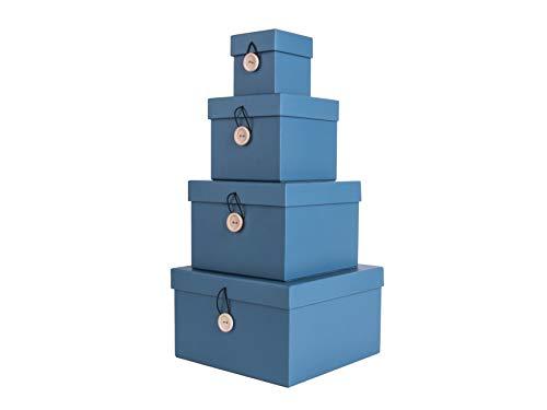 Present Time Lot de 4 boîtes de Rangement en Carton Bleu