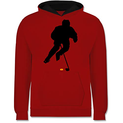 Sport Kind - Eishockey Spieler - 140 (9/11 Jahre) - Rot/Schwarz - Sport - JH003K - Kinder Kontrast Hoodie