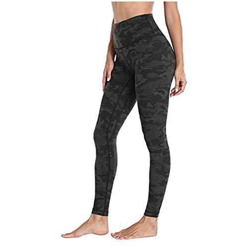 Las mujeres señoras de secado rápido Yoga Leggings Moda leopardo camuflaje Color sólido Fitness Pantalones Stretch Slim Fit gimnasio Activewear