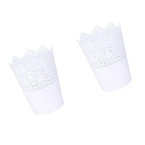 MagiDeal Lot 2pcs Multifonction Pot de Fleur en Métal Support Stylo Organisateur de Pinceau de Maquillage - Blanc