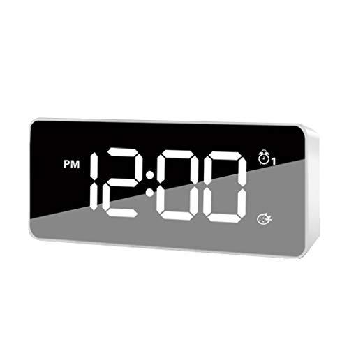 Summerone Zyklus Lade Wecker Intelligenter Speicher Elektronische Uhr Multifunktions Kreative Student Nacht Musik Kleine Wecker Tisch Einfach (Color : White)