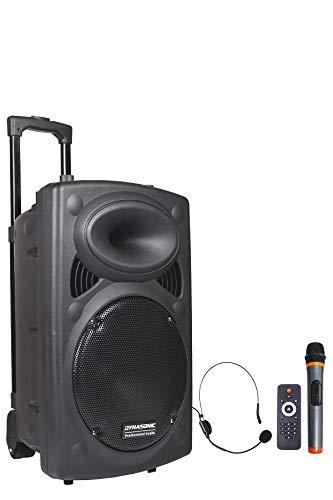 DYNASONIC - Dynapro 12 TWS - Altavoz Inalámbrico Sistema Audio Profesional Megafonia Portatil TWS | Lector USB Bluetooth Radio FM y Micrófonos, Color Negro (DYNAPRO 12)
