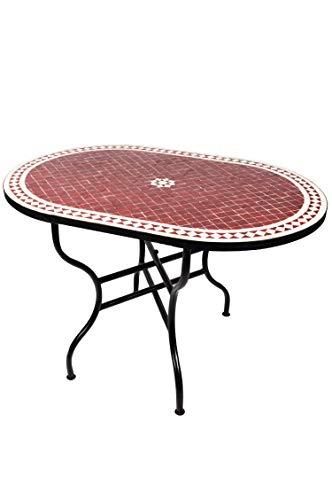 ORIGINAL Marokkanischer Mosaiktisch Gartentisch 120x80cm Groß eckig oval klappbar | Eckiger klappbarer Mosaik Esstisch Mediterran | als Klapptisch für Balkon oder Garten | Bilbao Bordeaux Weiß