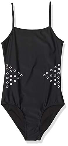 Cynthia Rowley Women's Low Scoop Maillot One Piece Swimsuit with Embroidery, Black/White, Large