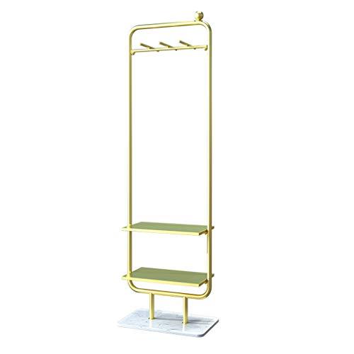 Goudsmeedijzeren kapstok, wit marmerchassis, dubbele wanden, staande hangers, geschikt voor woonkamer, slaapkamer, veranda