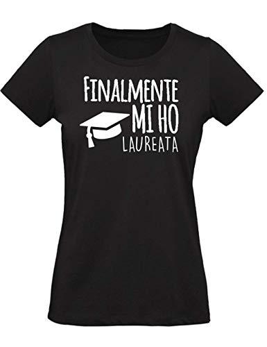 WIXSOO T-Shirt Maglietta Laurea Donna (M, Nero)