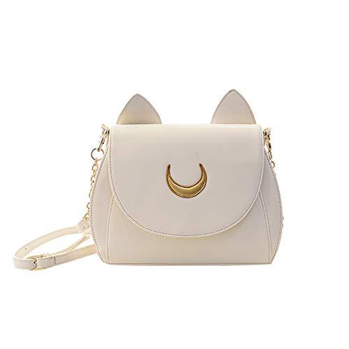 YARBAR Women Kawaii Cute Samantha Vega Sailor Moon Leather Cat Shape Chain Shoulder Messenger Crossbody Satchel Bag White