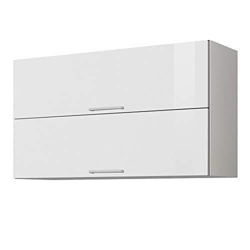 LIVATHA Küchen-Klapphängeschrank MÜNCHEN - Oberschrank - 2-türig - Breite 100 cm - Hochglanz Weiß
