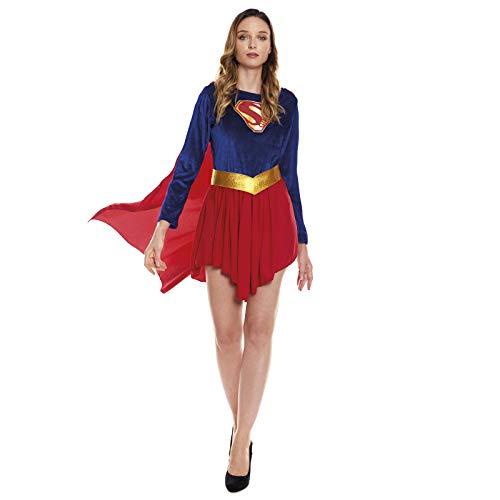 Disfraz Superherona con Capa Girl Super MujerTallas Adulto S a L[Talla L] | Disfraces Mujer Superhroes Carnaval Halloween Regalos Chicas Cosplay Cmics