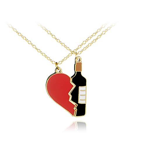 Broche Pin/Collar, 1 par de moda roto corazón botella de vino forma broche collar par joyería - collar