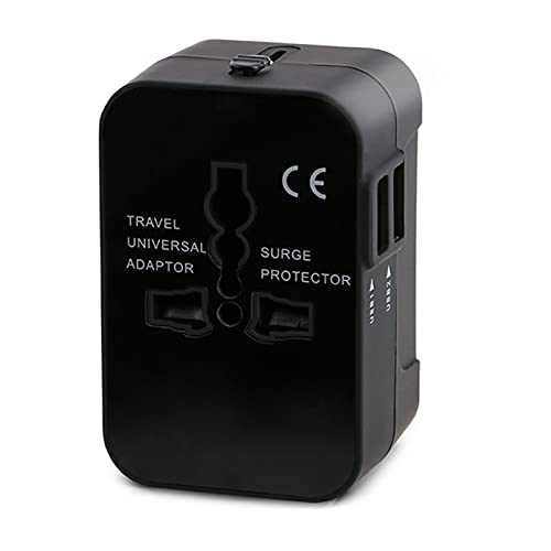 Internacional Adaptador de Corriente de Viaje USB Universal,2 Puertos USB Cargador de Pared Universal Enchufe , para Japón Canadá USA EU UK,Black