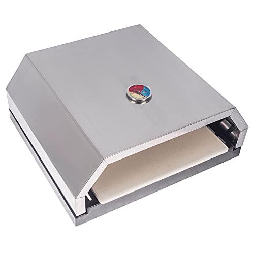 Wondjiont BBQ Edelstahl Pizzaofen Pizzaaufsatz, Pizzaofen Box mit Steinplatte & Temperaturanzeige, Pizza Box für Holzkohlegrills und Gasgrills (40 x 35 x 16,5 cm)