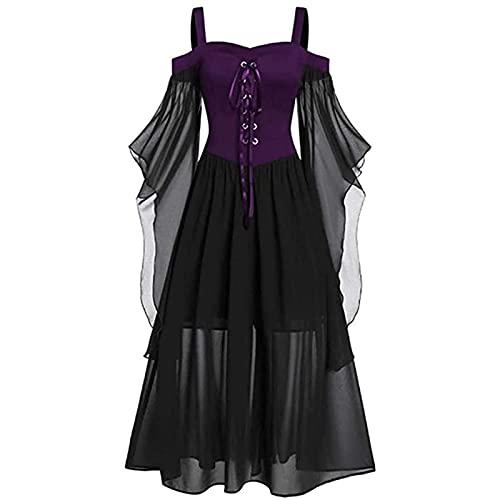 PDYLZWZY Vestido gtico para mujer de talla grande, con hombros fros, con volantes en la parte delantera, color oscuro, morado/negro, XXXXXL