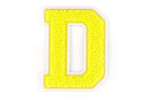 Nähgedöns.de Varsity Letter D de rizo con letra de la A a la Z, amarillo, blanco, 9,5 cm de alto