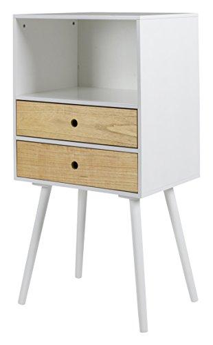 Tenzo Page Commode de 2 tiroirs/niche, Bouleau, Blanc, 50 x 38 x 97 cm